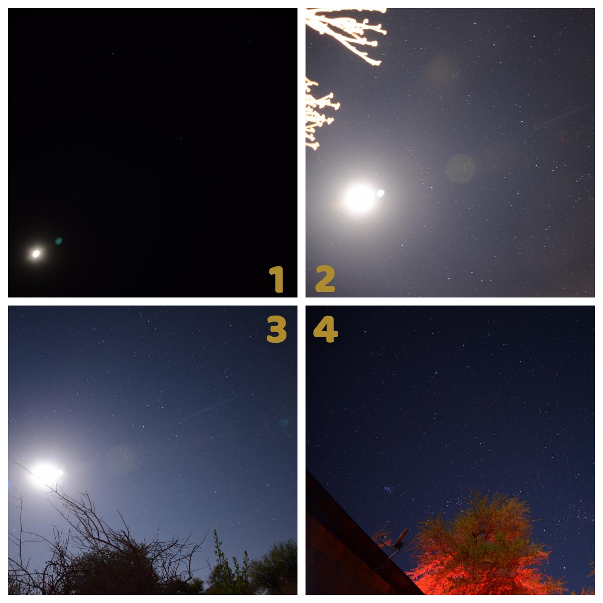 1 - a primeira tentativa, saiu nada. / 2 - só a luz da lua / 3 - a lua + algumas estrelas / 4 - alguma coisa melhor, com um telhado na frente